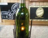 Wine Bottle Candle Holder with Party-Lite Base repurposed recycled upcycled