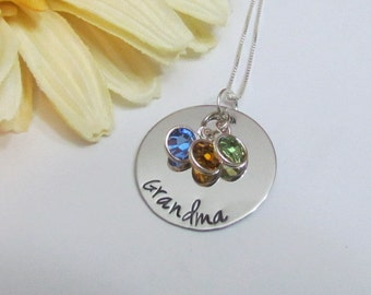 GRANDMA Necklace -Birthstone Jewelry- Hand Stamped Jewelry - gifts from grandchildren - Grandmothers - Ready to ship -Gift box included