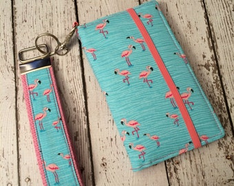 Flamingo print iPhone wallet, iPhone wristlet with removable gel case