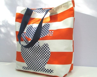 Polka dotted cat on orange and white stripped fabric tote bag, uncoventional,hand appliqued, shopper bag, market bag, eco friendly