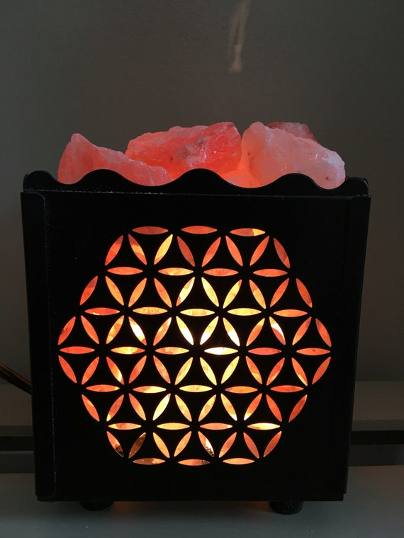 Pink Sea Salt Lamps : Himalayan Sea Salt Lamp Flower of Life Salt by thisthatandthese