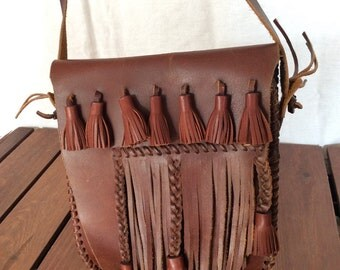 Rare Vintage Brown Leather Cross Body Shoulder Bag with Fringes and Thick Stitching