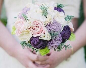 Romantic Wedding Bouquet -Ivory Blush Purple, Bridal Bouquet, Keepsake Alternative Bouquet, Sola Bouquet, Shabby Chic Rustic Wedding