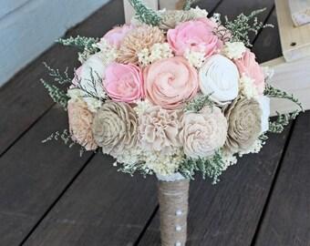 Ready To Ship! Handmade Alternative Wedding Bouquet - Ivory Blush Nude Bridal Bridesmaid Bouquet, Sola Flower, Natural Bouquet, Keepsake Bou