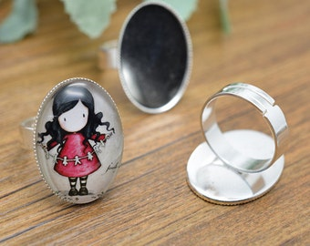 Ring Blanks -10pcs 18x25mm Silver Plated Brass Oval Adjustable Cabochon Ring Base Setting LB405-4