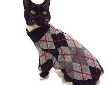 Black and Gray Argyle Cat Sweater-Argyle Sweater for Cats-Cat Sweater-Cat Clothing-Cat Apparel-Pet Clothes-Shirts for Cats-Cat Shirts