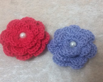 Red And  Purple Layered Crochet  Flowers.  Crochet  Flower Appliques.