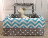 Dog Car Seat MEDIUM ***Ready Made Turquoise / White / Gray dot, chevron *** by FancyFido