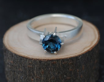 Blue Topaz Ring - London Blue Topaz Engagement Ring - Round Blue Topaz Ring - Blue Topaz Silver Ring - Made to Order -FREE SHIPPING