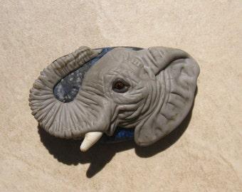 XL. Bull African Elephant - Glass Flamework Sculpture Bead - SRA
