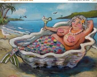 """Woohoo Weekend Sale Mermaid art on canvas// bbw mermaid/ Sasha Mermaid//bathroom print// Margaritas 8""""x10"""""""