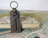Dark olive green // Vintage skeleton key // Leather key chain // Key Fob // Purse charm // Luggage tag // Bridesmaid gift // Ready to ship