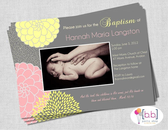 Girl Baptism Invitation- Pink, Yellow & Gray- Printable or Shipped