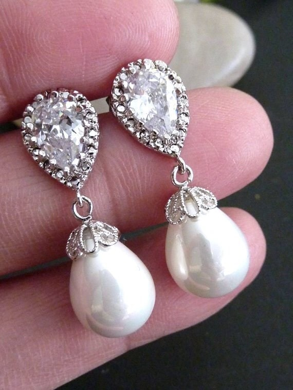 Bridal Earring White Teardrop Pearl Round Cz Drop With