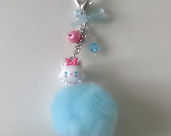 Marie Aristocats Kitty Cat Tsum Tsum Pom Pom Keychain Pink Blue Gift Ooak Small Figurine Toy Cute Bag Charm