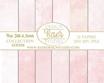 PINK DIGITAL PAPER: Pink Swirl Digital Paper, Valentine Digital Paper, Pink Polka Dot Digital Paper, Digital Paper Commercial Use