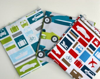Robert Kaufman Boys Toys Quilting Cotton Fabric - Set of 3 Pieces 0.25m each - 0.75m in total