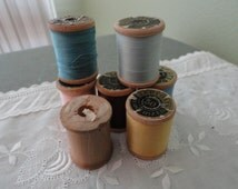 B751)  Vintage J & P  Coats Mercerized Sewing Thread  Wood Spools