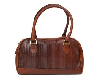 Vintage Etienne Aigner Handbag // Double Top Handle Straps // Designer Brown Leather Purse with Two Zip Compartments