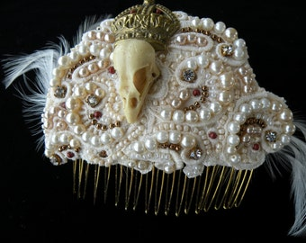 Skull Bridal Headpiece, vintage faux pearls, bird skull & crown, Gothic Moi?