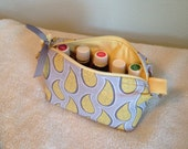 Yellow and gray paisley essential oil bag, handmade.  Holds 10 bottles (for 5ml and 10ml bottles)