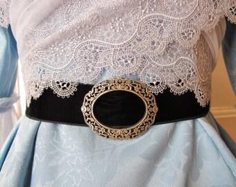Black or purple velvet belt with silver and blue filigree buckle