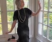 Black Fringe Vintage Flapper Dress/Vintage 1930s/Shawl Collar With Tiers of Fringe/Size Medium