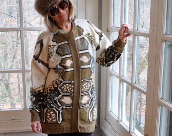 Nordic Style Wool Cardigan Sweater/Vintage 1980s 1990s/Apres Ski Sweater/Tunic Length Cuddly Sweater Jacket/Size Medium