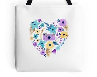 TOTE, Camera Heart Tote Bag,  Blue, Purple, Yellow, Artwork Tote Bag, Original Watercolor Art, Three Sizes, Beautiful and Durable