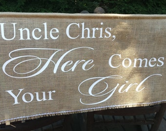 Here Comes The Bride Banner, Burlap Banner, Rustic Wedding, Burlap Wedding, Personalized Banner, Custom Sign, XLarge Burlap Sign