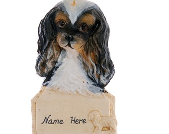 Cavalier King Charles Christmas Personalized Ornament - Black Tan and White Cavalier King Charles Dog Ornament - Made in the USA  (273)