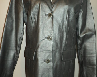 Vintage Gun Metal Grey Leather Blazer with polyester lining in Mint Condition, Terry Lewis Label, Size Small