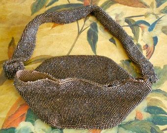 1940's Coppery Brown Beaded Purse Pieces