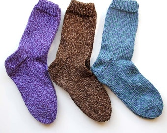 Hand Knitted Socks for Women, You Choose Size and Color, Made to Order, Superwash Wool, Warm House Socks, Chemo Socks, Bed Socks