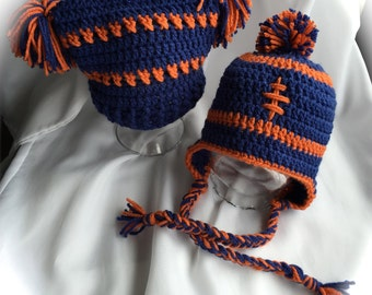 PomPom or Earflap Hats / Team Beanies / Sport Fans Hat / Custom  Sizes /  Children Hats All Sizes