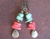 Shell Chip Earrings with Brass Teardrop Dangle - Shell Jewelry - Sea Shell Earrings