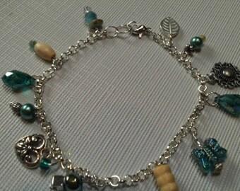 Turquoise & Silver Charmed Bracelet, Crystal Teardrops, Wood, Czech Glass Butterfly Bracelet, Dangling Beaded Bracelet, Bracelet Sale