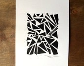SALE - Linocut Print - Modern Triangles 5 x 7 Block Print - 1-8026