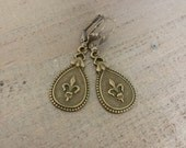 Fleur De Lis Earrings, Brass Dangles, Paris, French