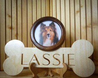 Pet Memorial Plaque, Dog Bone w/ Personalized Pet Portrait Picture Frame,  With Square or Round Picture Frame
