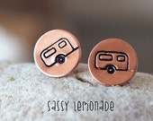 Dainty Glamper Earrings / Camper Hand Stamp Surgical Steel Post Earrings / Glamping Copper Posts / Stocking Stuffer