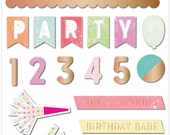 Pink Paislee Birthday Bash Epoxy Stickers  -- MSRP 4.00