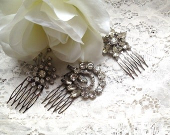 Wedding Hair Combs, Vintage Brooch Combs, Set of Three Vintage Brooch Combs, Bridesmaid Gift, Sparkly Hair Combs, Rhinestone Wedding Combs