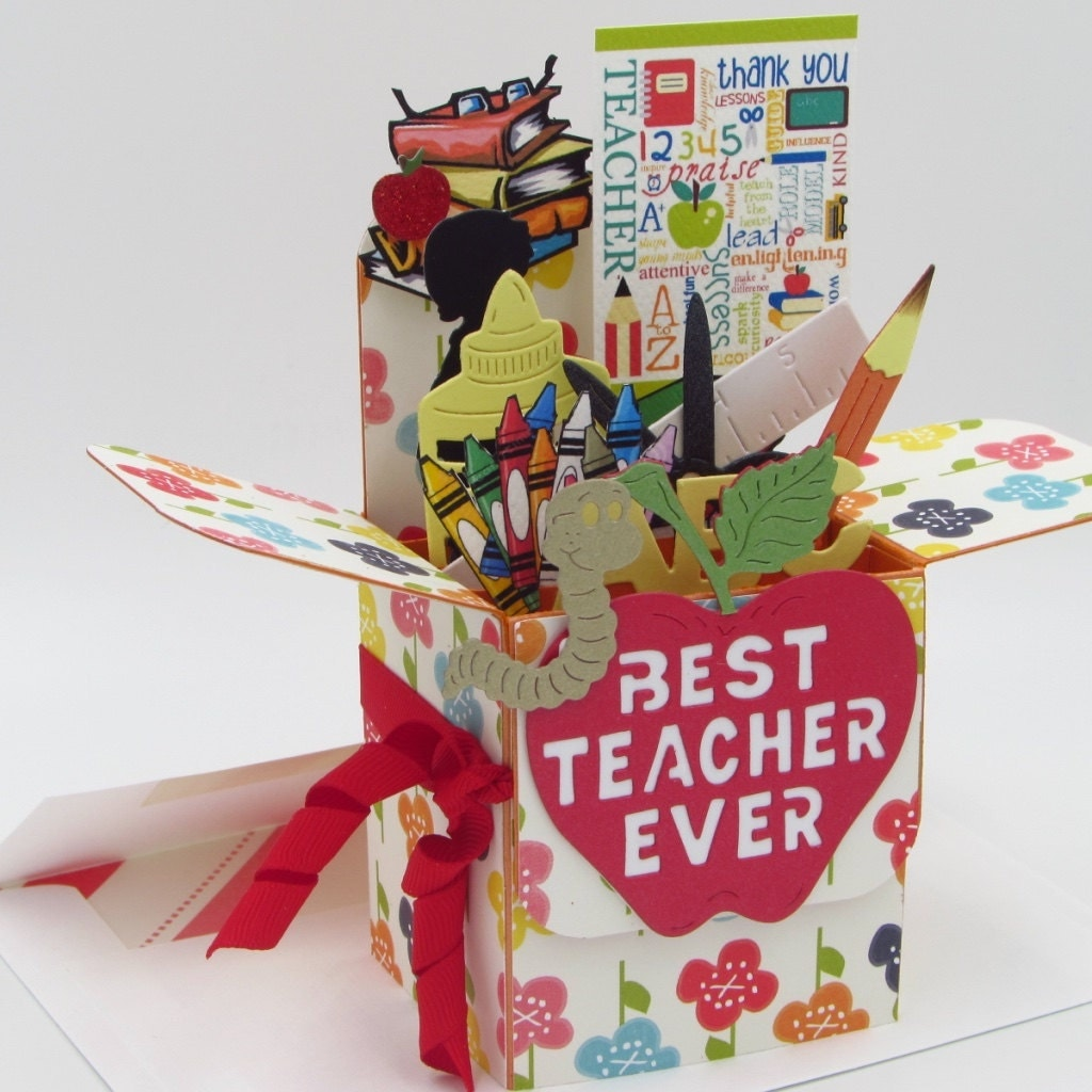 teacher explosion box card handmade card in box greeting