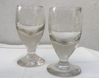 French vintage 2 Paris bistro glasses early 20th a pair of thick glass Bistrot 1900
