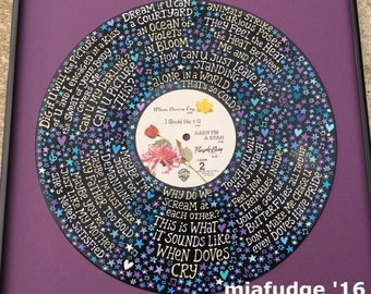 Prince When Doves Cry Lyrics Handpainted on Vinyl Record