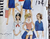 Butterick 3093 girls summer separates pattern, breast 25 pattern. middy blouse pattern, wrap skirt pattern, sailor blouse, sailor collar