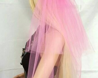 Bachelorette party Veil 2-tier light baby pink, long length. Bride veil, bachelorette veil, wedding veil, hen party veil, bridal shower veil