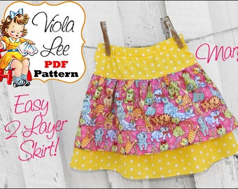 Mary Girls Skirt Patterns, Ruffle Skirt Pattern, Baby Skirt Pattern. Toddler Sewing Patterns. Girls Sewing Patterns. pdf Sewing Patterns