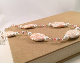 Pretty In Pink, Pearl and Turquoise Necklace